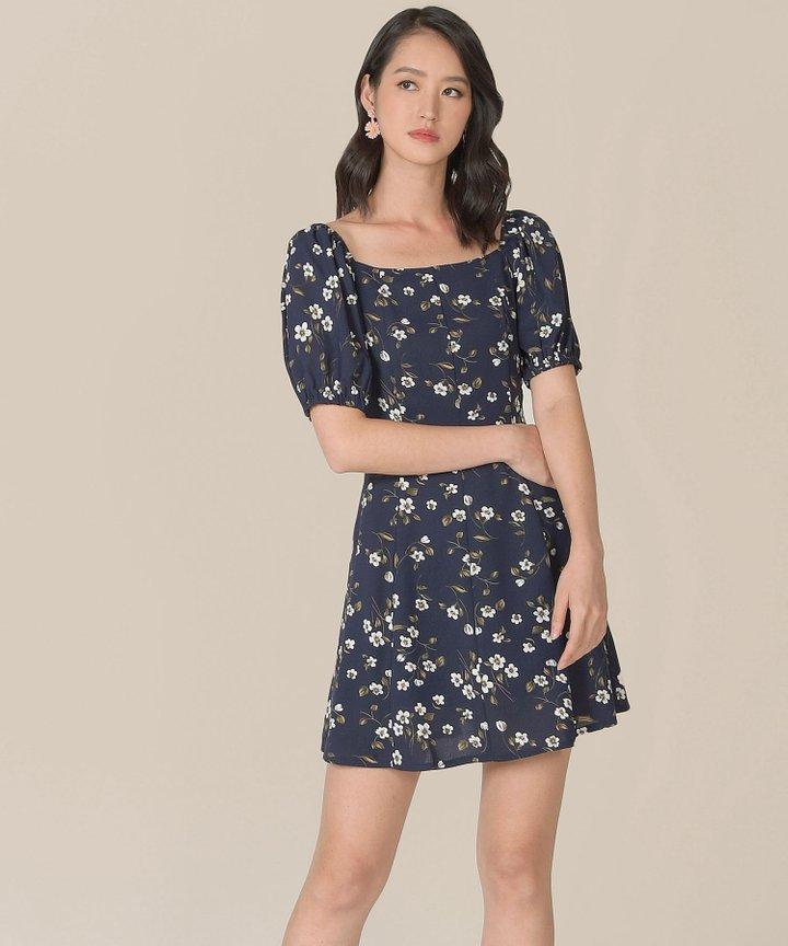 Ruth Floral Dress - Midnight Blue