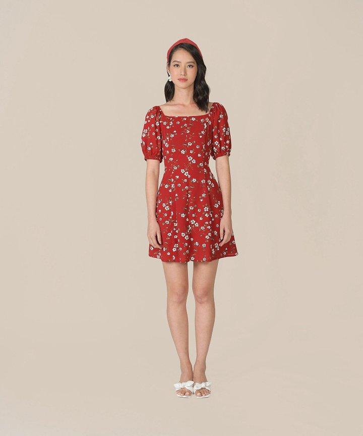 Ruth Floral Dress - Scarlet