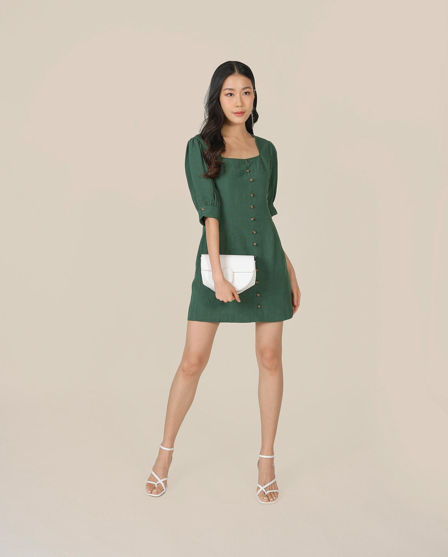 caprice-button-down-dress-hunter-green-1