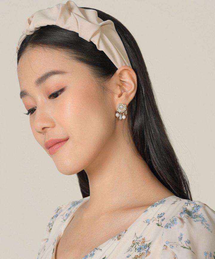 Astoria Ruched Hairband - Ecru