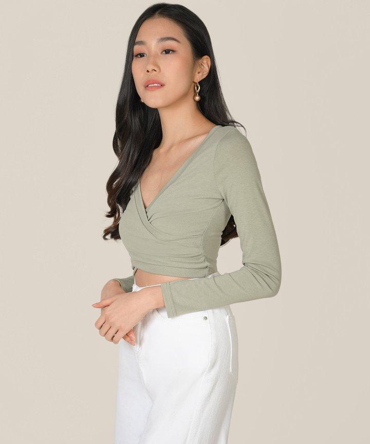 Clarion Wrap Cropped Top - Clary Sage