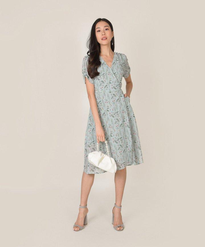 Roksana Floral Wrap Midi Dress - Spring Blue (Restock)