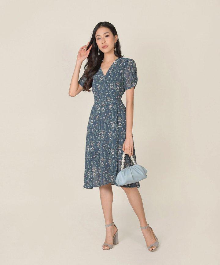 Roksana Floral Wrap Midi Dress - Teal Blue (Restock)
