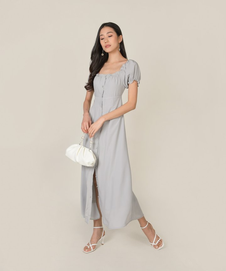Roseville Button Down Maxi Dress - Cloud Grey
