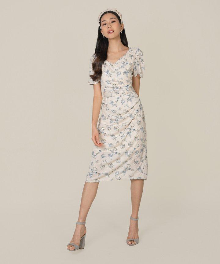 Roubelle Floral Overlay Midi Dress - Ecru