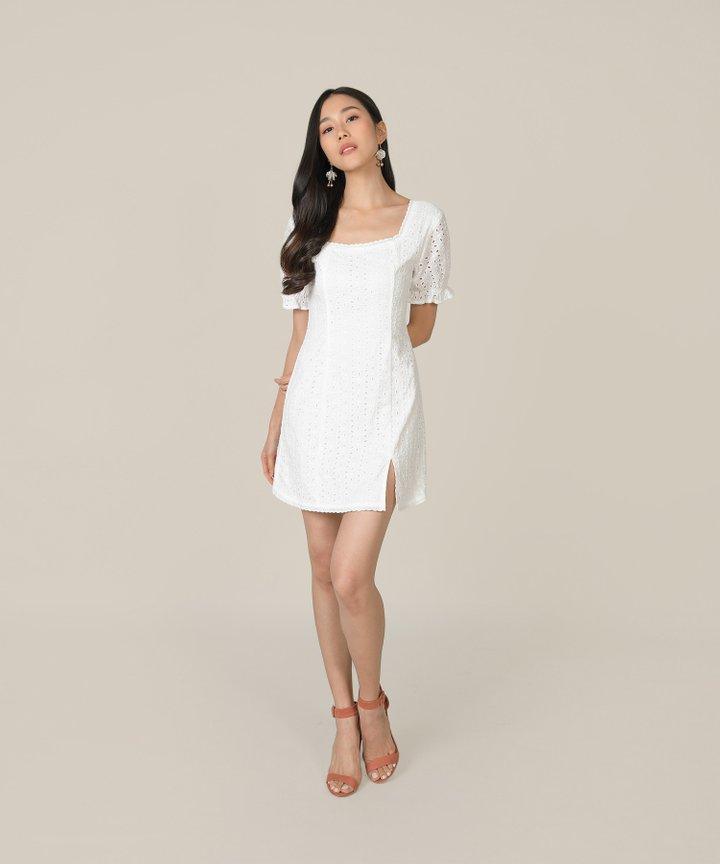 Vianna Eyelet Pouf-Sleeved Dress - White