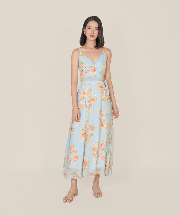 Afterglow Floral Overlay Maxi Dress - Pale Blue
