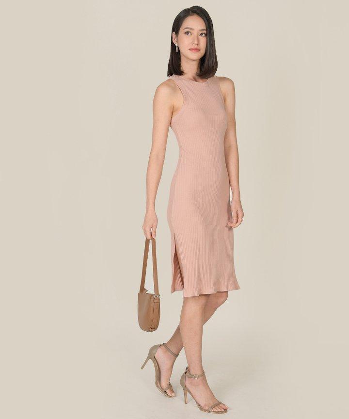 Anushka Knit Midi Tank Dress - Blush