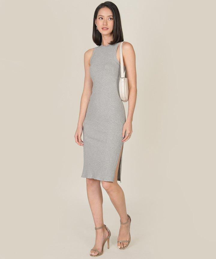 Anushka Knit Midi Tank Dress - Heather Grey