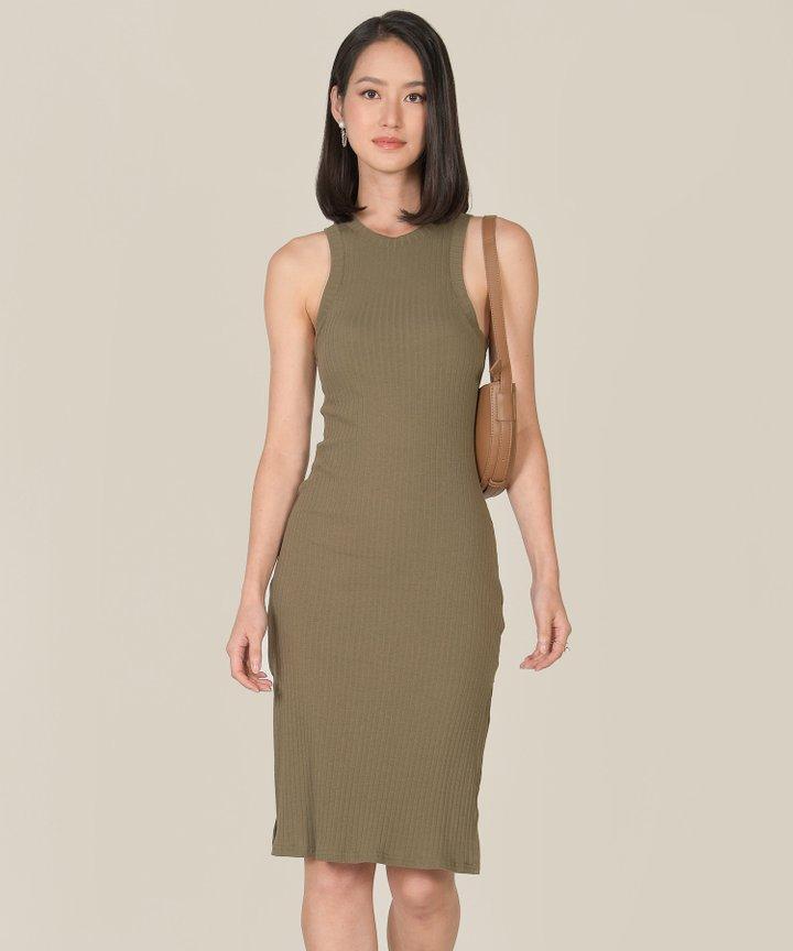 Anushka Knit Midi Tank Dress - Shamrock