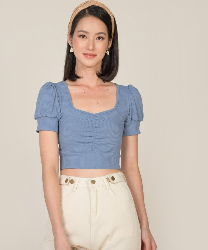 Bambi Knit Cropped Top - Cornflower Blue
