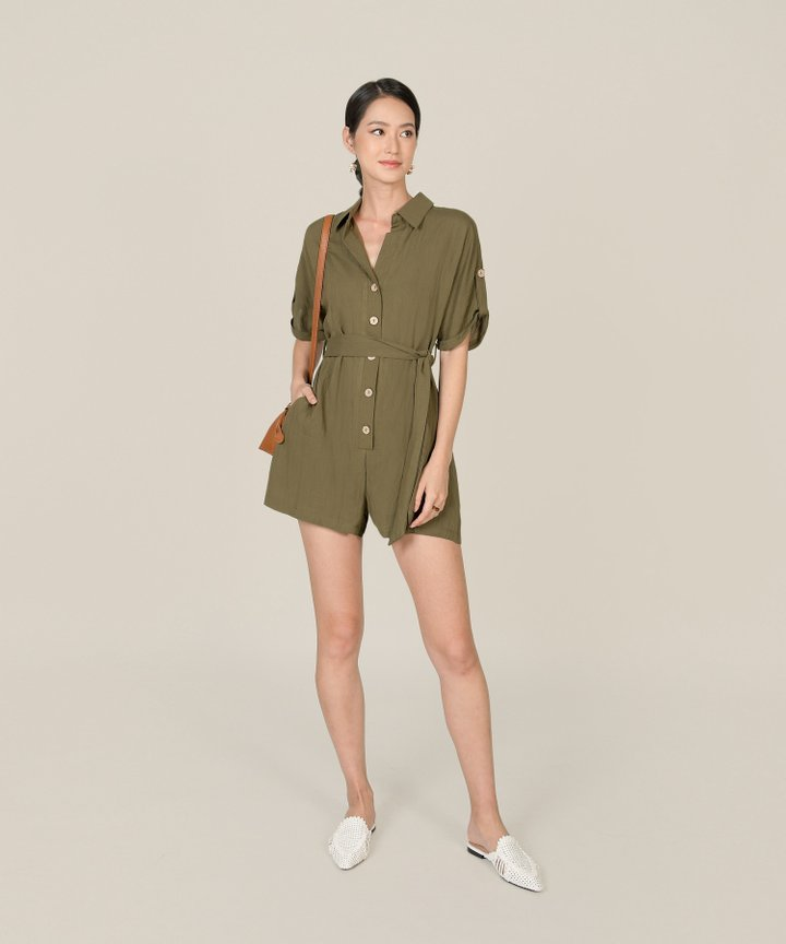 Calgary Oversized Button Down Playsuit - Clover