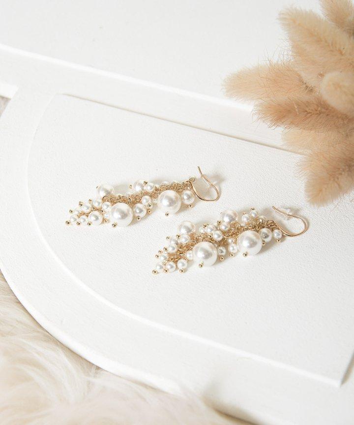 Cognac Pearl Cluster Drop Earrings