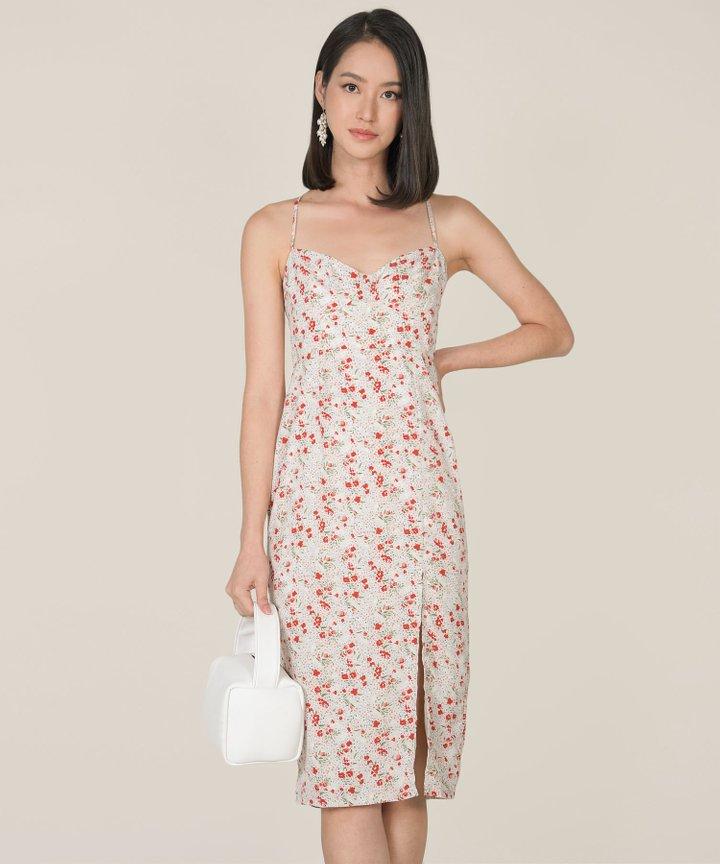 Lou Floral Midi Dress - Cream (Backorder)