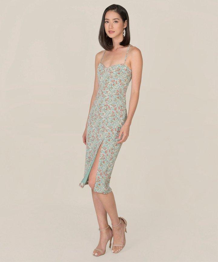 Lou Floral Midi Dress - Seafoam (Backorder)
