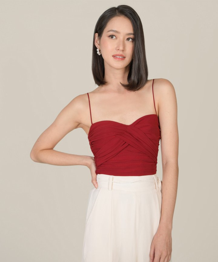 Madeira Bustier Ruched Top - Carmine (Backorder)