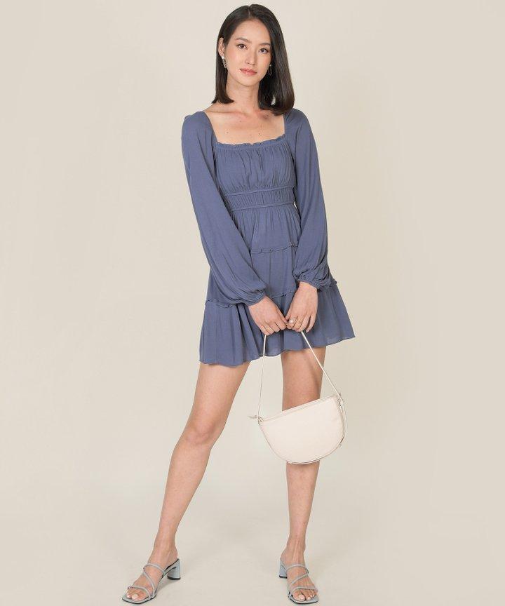 Mariposa Ruffle Tiered Dress - Dust Blue (Restock)
