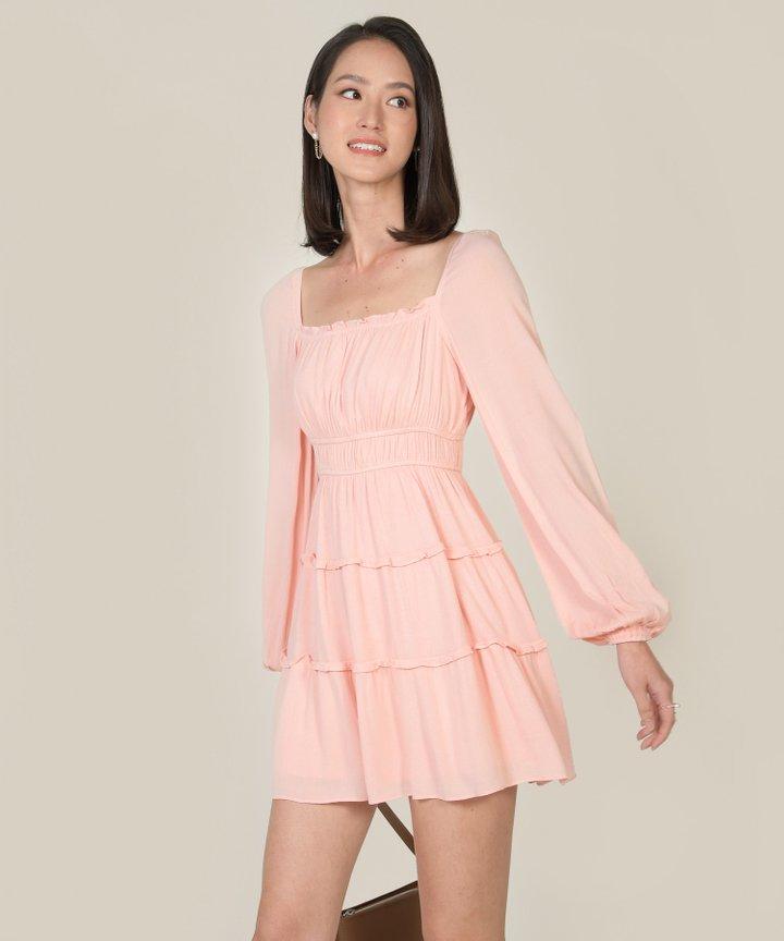 Mariposa Ruffle Tiered Dress - Seashell Pink
