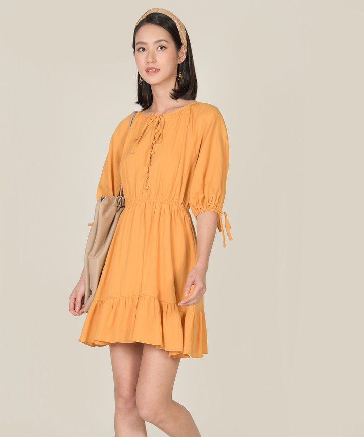 Rosso Button Down Dress - Mustard