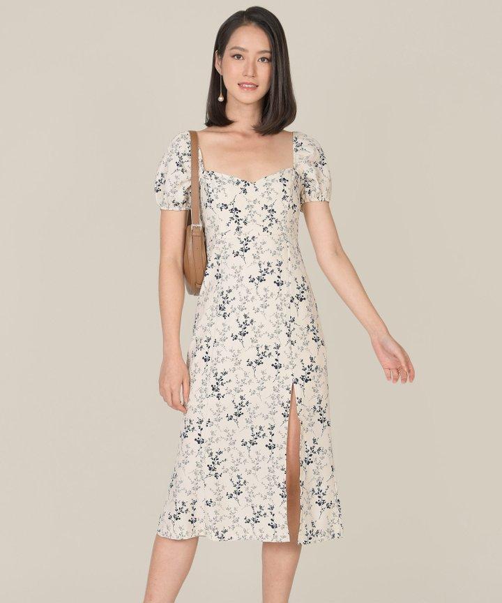 Verona Floral Slit Midi Dress - Eggshell (Backorder)