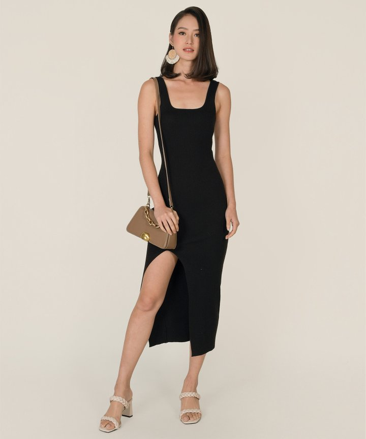 Arden Knit Bodycon Midi Dress - Black