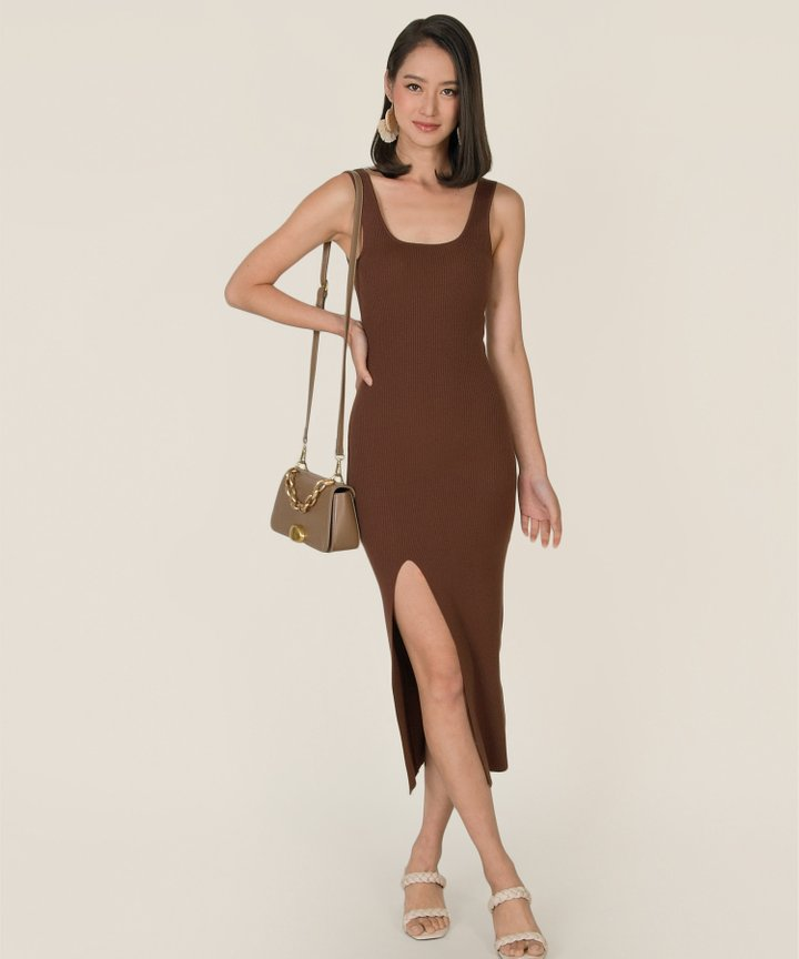 Arden Knit Bodycon Midi Dress - Chocolate