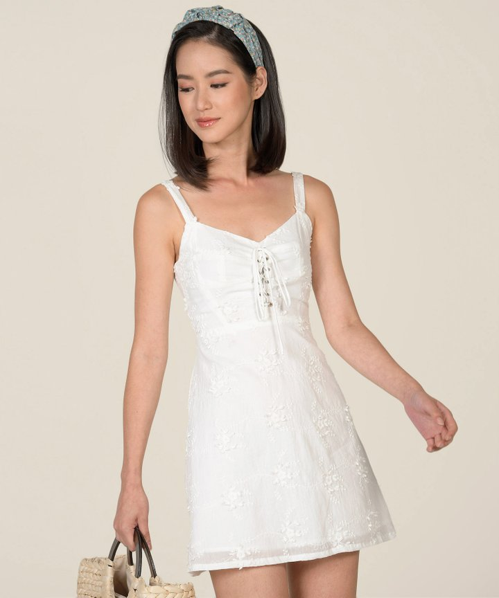 Blanca Embroidered Lace-Up Dress (Backorder)