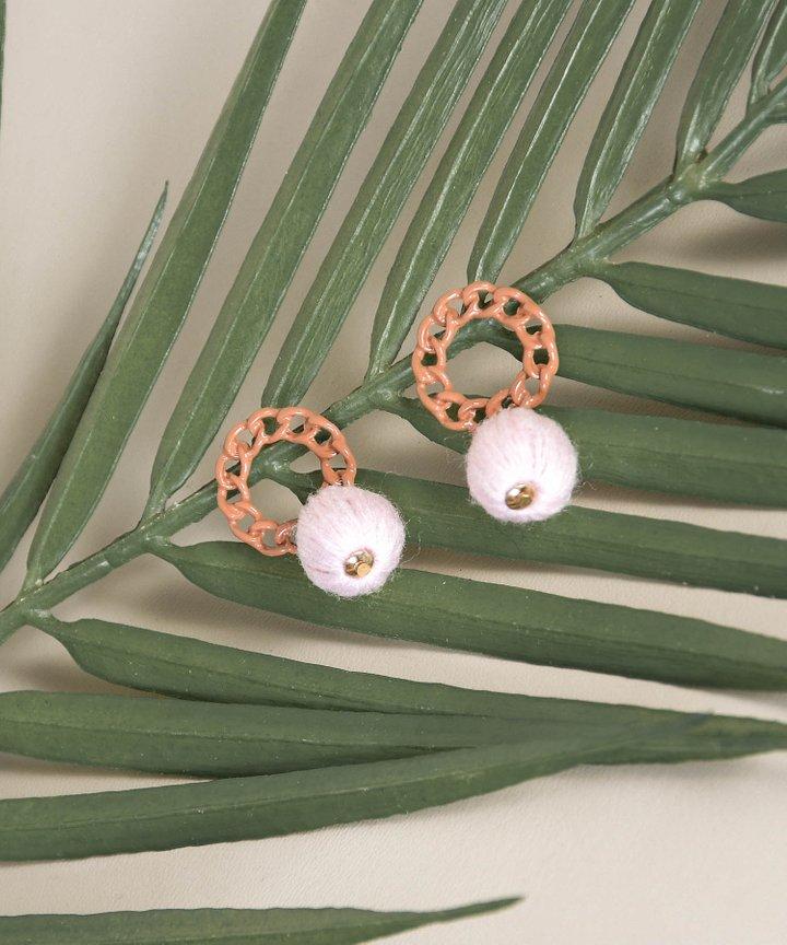 Breton Chain Drop Earrings - Pink