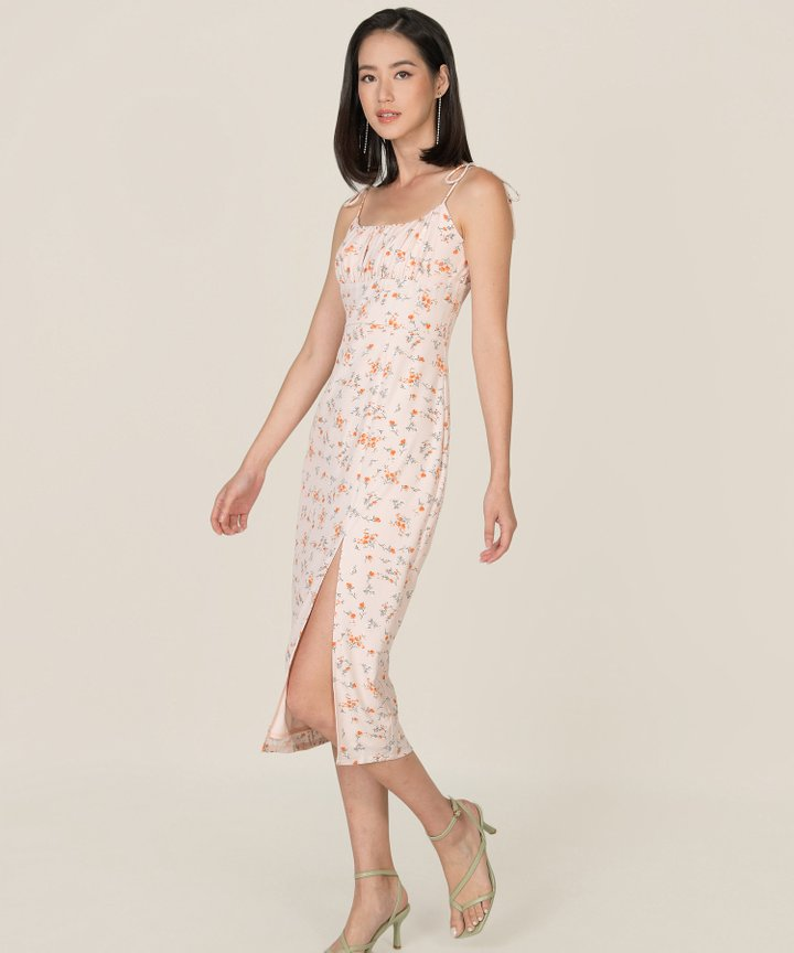 Cassina Floral Ruched Midi Dress - Pale Pink