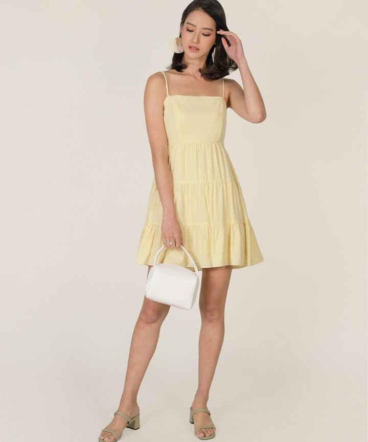 Castella Linen Tiered Dress - Lemonade
