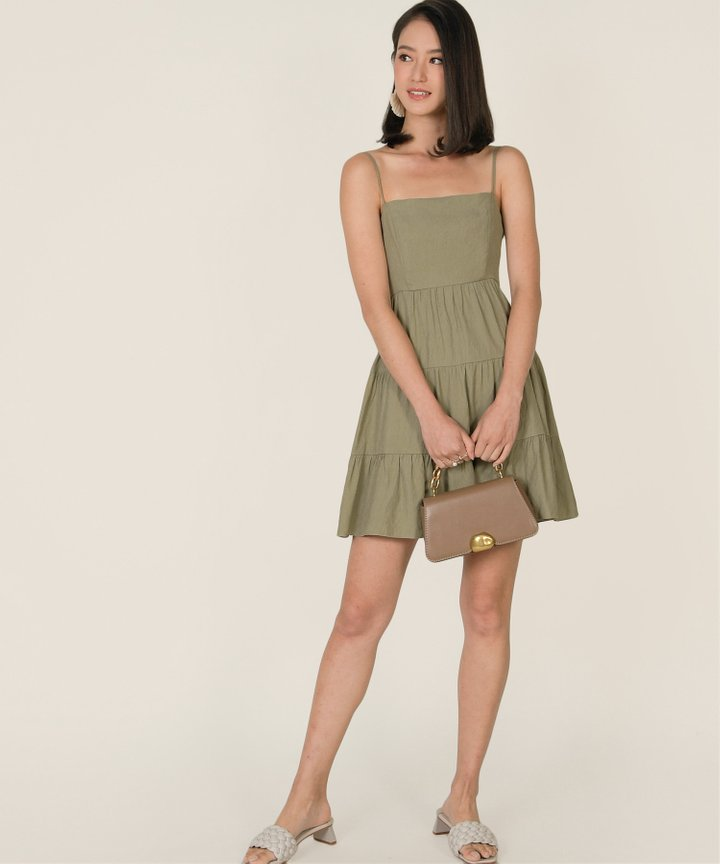 Castella Linen Tiered Dress - Pale Olive