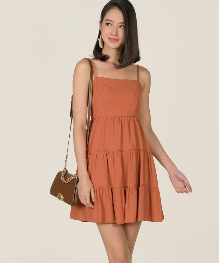 Castella Linen Tiered Dress - Terracotta