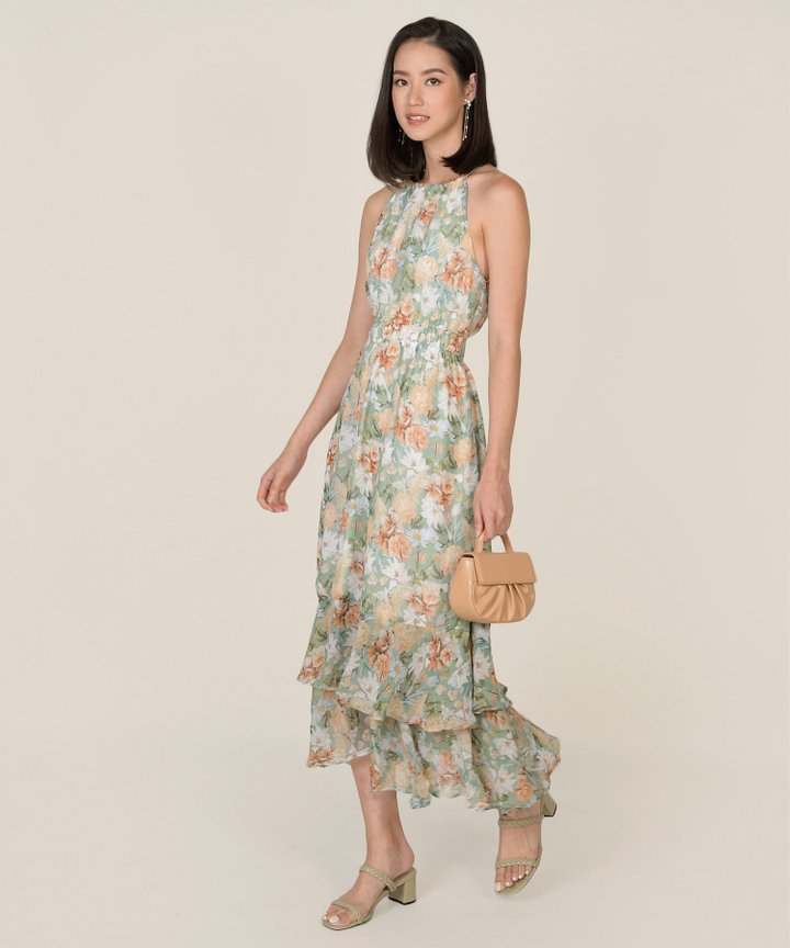 Darja Floral Halter Maxi Dress - Sea (Backorder)