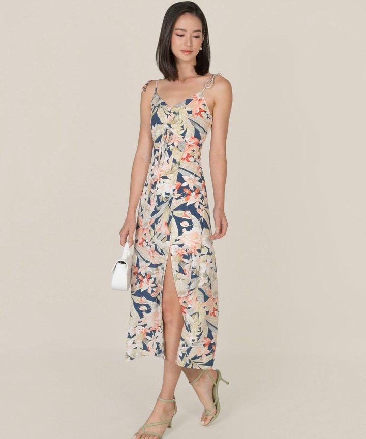 Fosette Floral Slit Maxi Dress - Navy (Backorder)