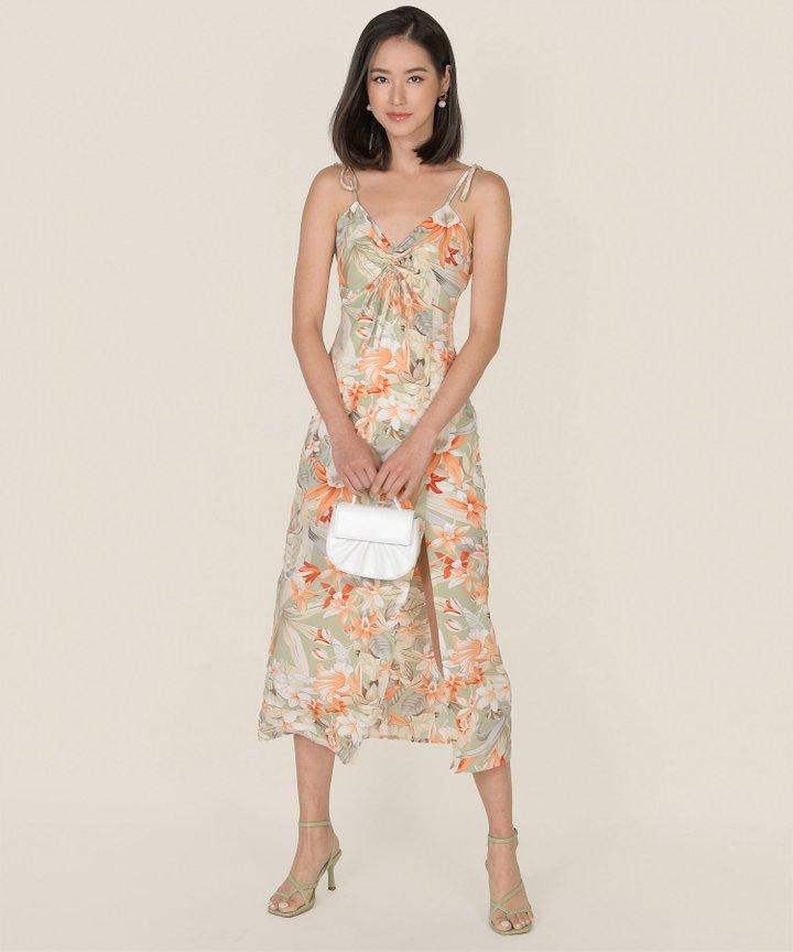Fosette Floral Slit Maxi Dress - Sage (Backorder)