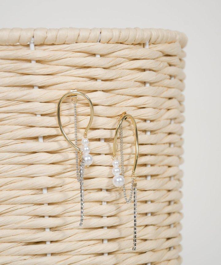 Leon Pearl Diamante Earrings