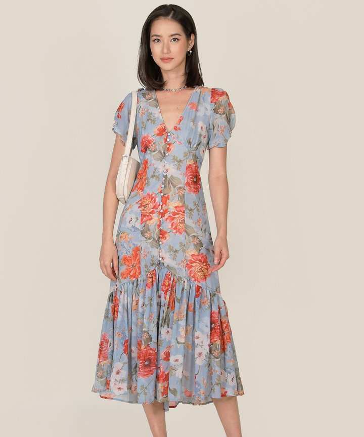 Lilibet Floral Button Down Maxi Dress (Backorder)