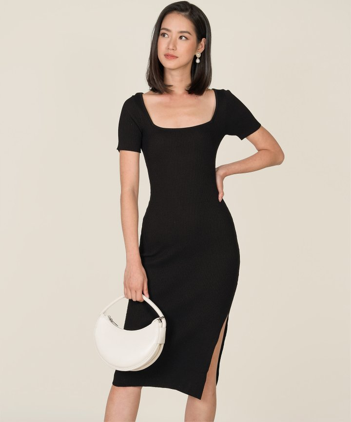 Madison Ribbed Knit Bodycon Midi Dress - Black (Backorder)