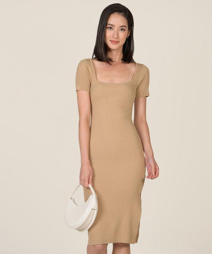 Madison Ribbed Knit Bodycon Midi Dress - Cappuccino (Backorder)