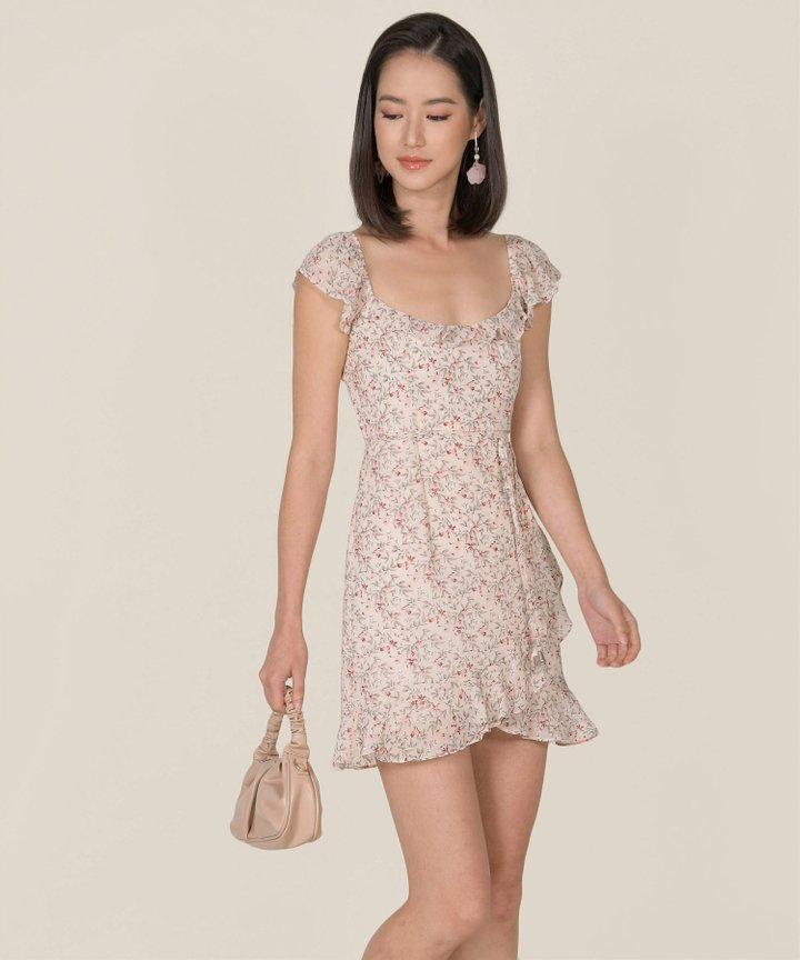 Maxime Floral Ruffle Dress - Blush Pink (Backorder)