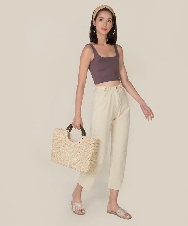 Seychelles Basic Cropped Tank - Dust Plum