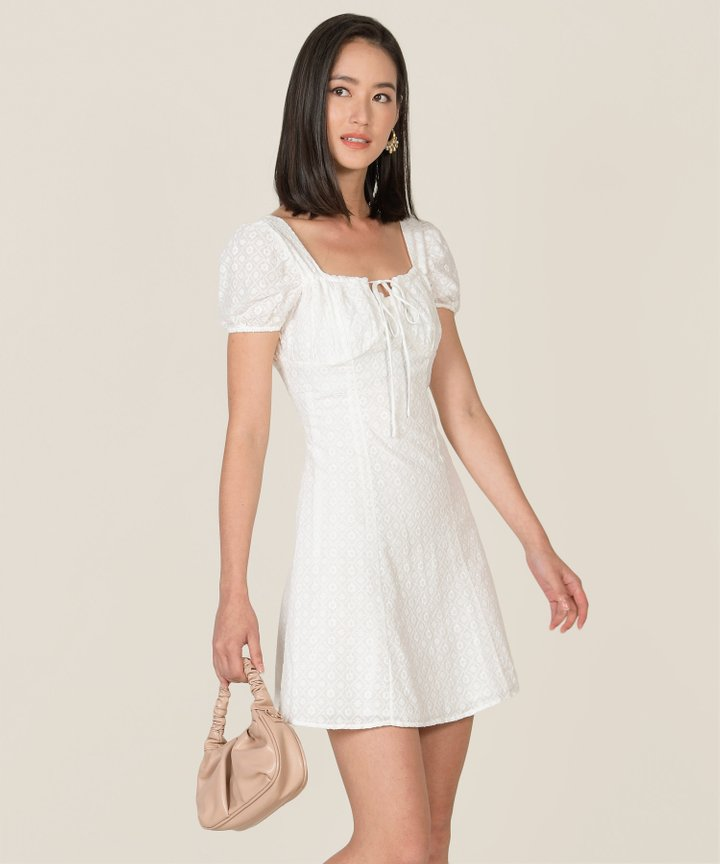 Sicily Broderie Ruched Dress (Restock)