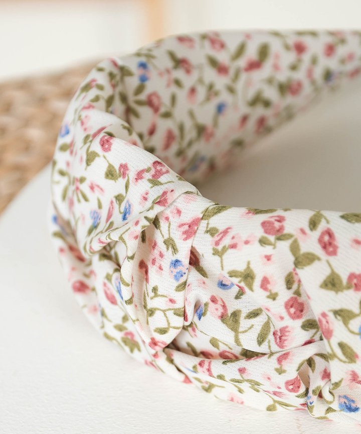 Tully Floral Ruched Hairband - Cream