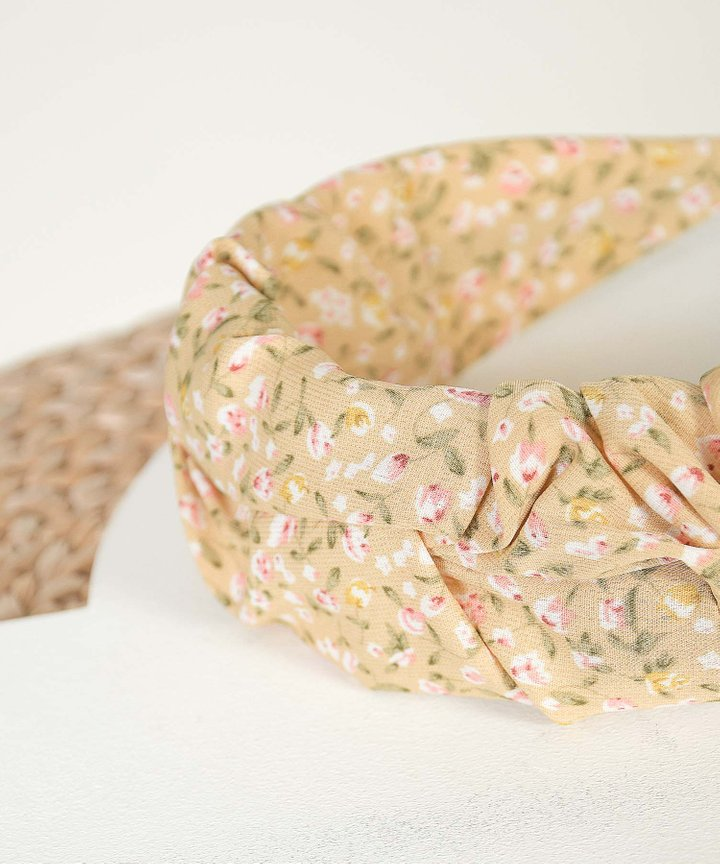 Tully Floral Ruched Hairband - Daffodil