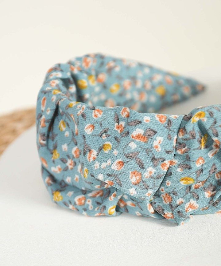 Tully Floral Ruched Hairband - Teal