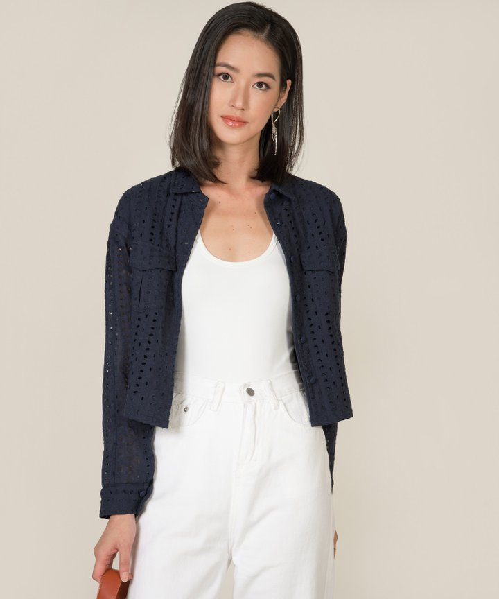 Vianna Eyelet Cropped Jacket - Midnight Blue