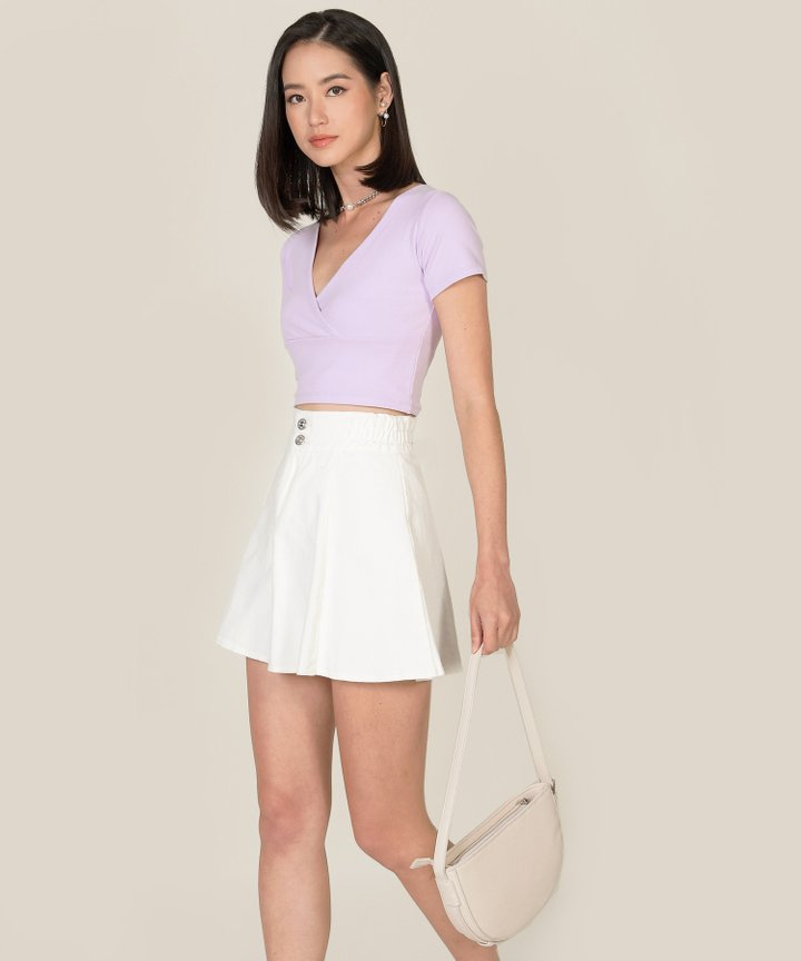 Vienne Surplice Cropped Top - Lilac