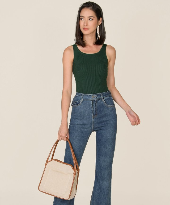 Vitoria Ribbed Knit Tank - Forest Green