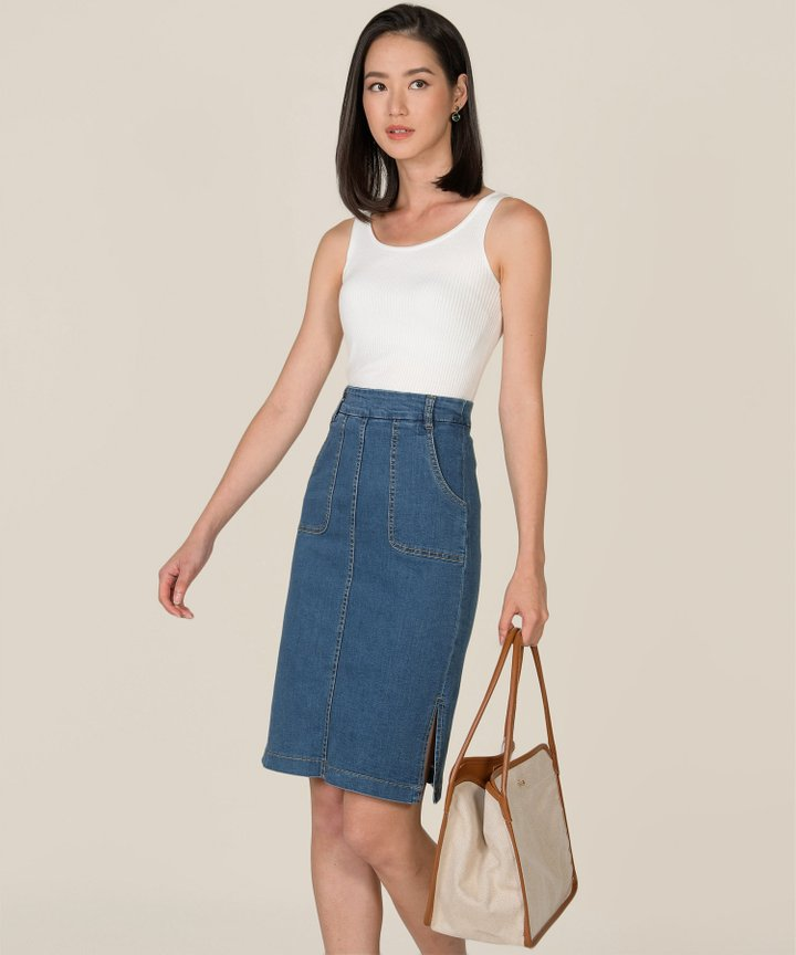 Afar Denim Midi Skirt - Medium Blue