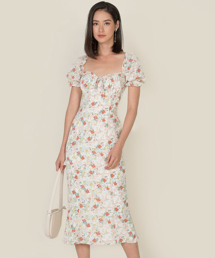 Winslet Floral Gathered Midi Dress - Cream (Backorder)